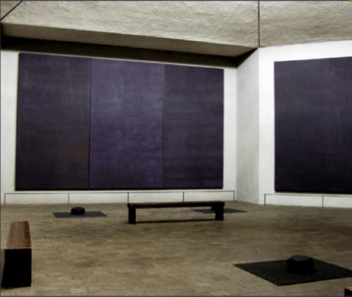 Paintings by artist Mark Rothko in the Rothko Chapel