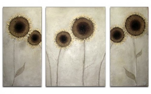 Golden Sunflowers Triptych by CK Wood
