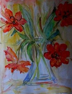 Daffodils in a Vase by Lilamani de Silva