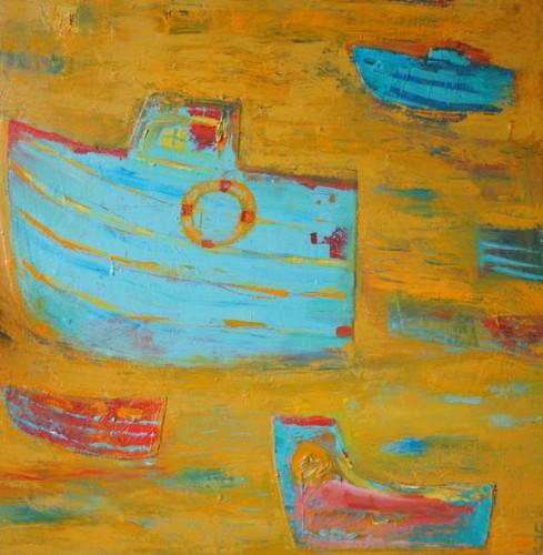 Blue Boats Yellow Sea by Yolanta Gawlik