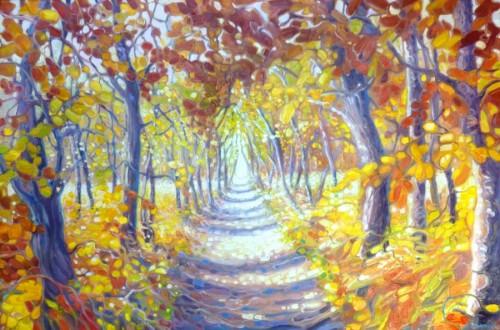 A Path Through an Autumn Wood by Gill Bustamante