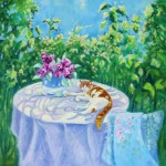 Ginger Cat on a Table In The Garden by Mary Kemp