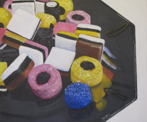 Allsorts in a Black Dish by Nikki Rosetti https://www.art2arts.co.uk/allsorts-in-a-black-dish?___SID=U#.V7xg3ygrLIU