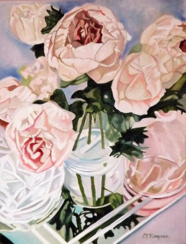 Glass Reflections with Peonies by Louisa Jane Simpson