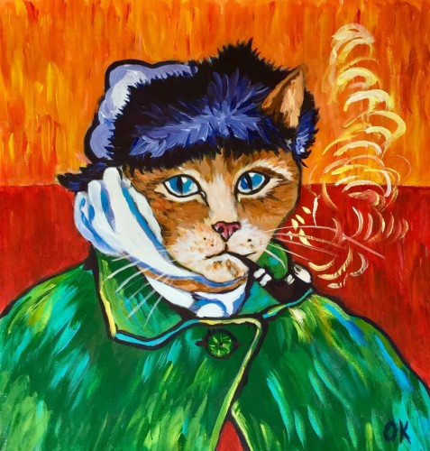 Version of Famous Self Portrait of Vincent Van Gogh with Pipe by Olga Koval