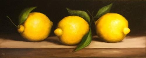 Three Lemons Still Life by Jane Palmer