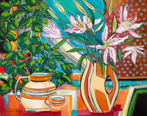 Still Life With Lilies, Vase and Jug by Diana Aungier-Rose