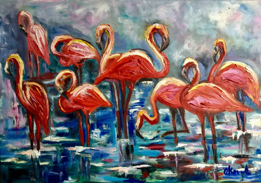 Orange flamingos. Foggy morning by Olga Koval