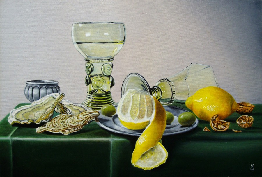 Peeled Lemon with Olives and Oysters by Jean-Pierre Walter