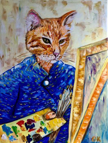 Cat La Van Gogh Artist by Olga Koval