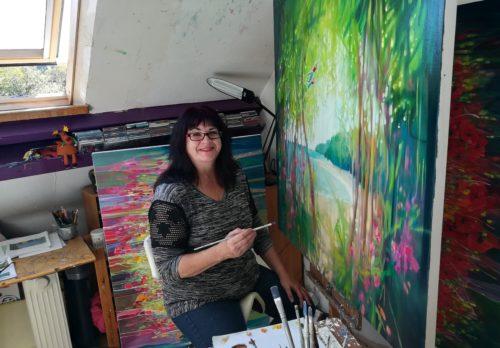 Gill Bustamante in her studio