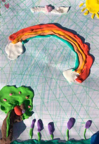 Children art group collage