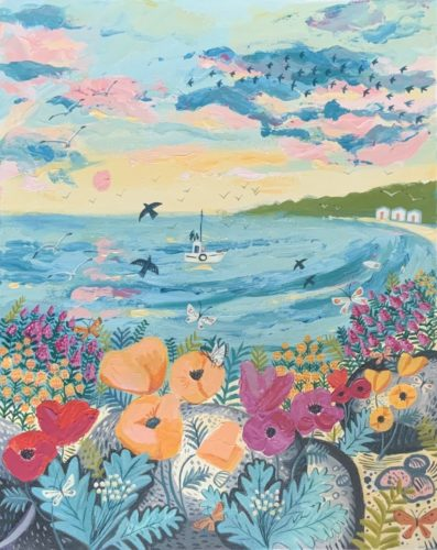Spring Flowers Seascape by Mary Stubberfield