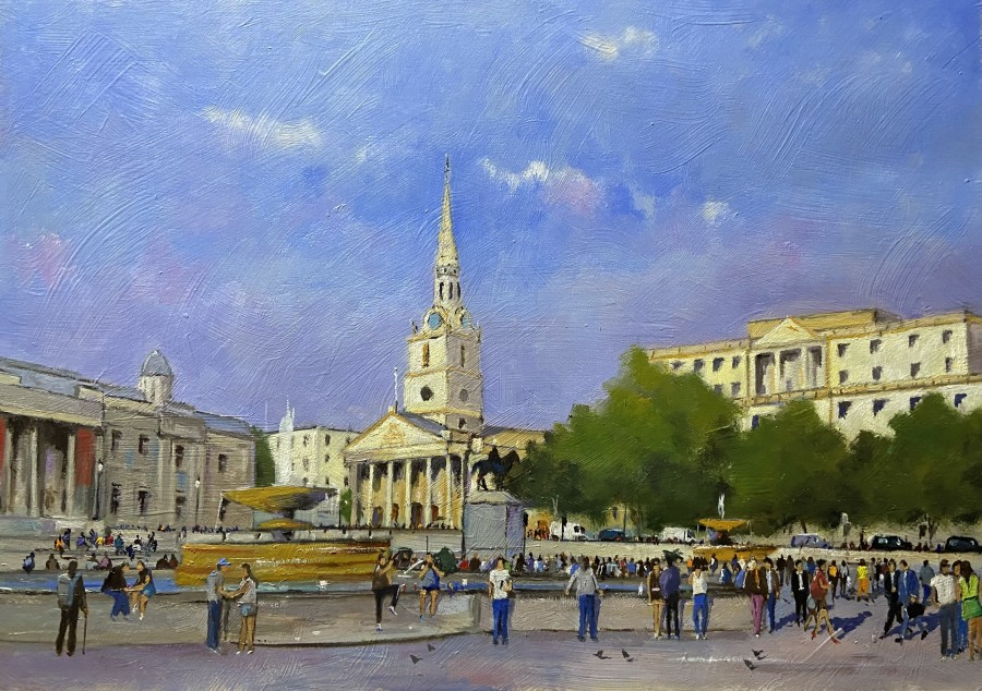 Summer Crowds, Trafalgar Square by Mike Samson