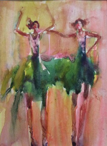 Ballerinas  Girls women  Face portrait  Theatre watercolours  Dreamy painting  Gift for her