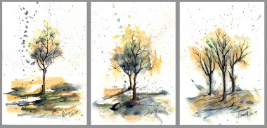 Colorful Autumn Trees - watercolor on paper