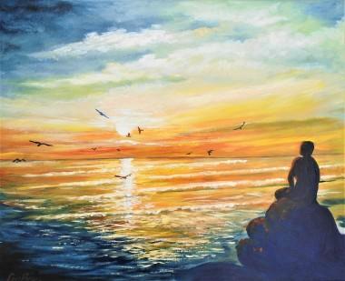 dawn,mermaid, sculpture,sunrise over the sea peaceful statue folkestone