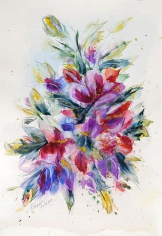 Purple Flowers - watercolor painting