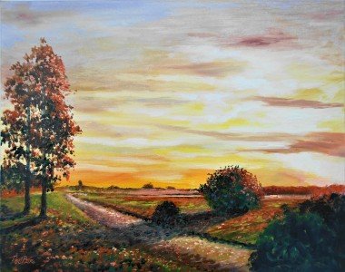 sunset september seasons peaceful affordable oil painting sky