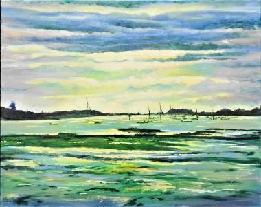 Bosham, affordable oil painting, harbour, sunlight, sky, sea,
