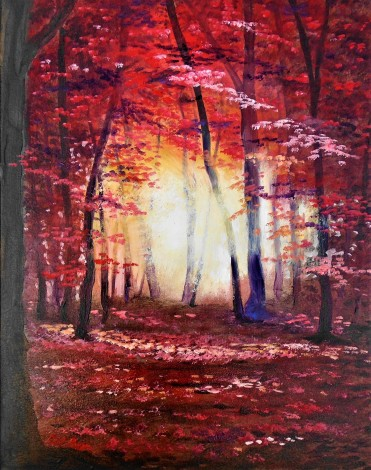 autumn reds , trees, affordable oil painting, sunset, shadows, warm, hot