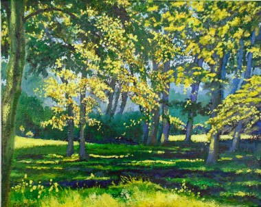 Summer, sunlight and shadow, greens, parkland, gardens, affordable oil painting, peaceful,