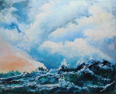 Stormy seas, waves, clouds, affordable oil painting, blues, atmospheric,