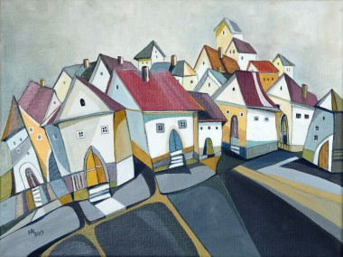 The Placid Town oil on canvas