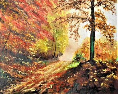 Autumn, trees colourful, bright affordable oil painting, trees path walk happiness mists.