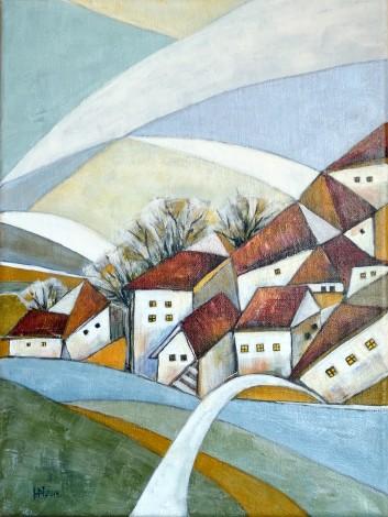 Quiet Village acrylic on canvas
