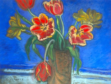 red tulips and blue background