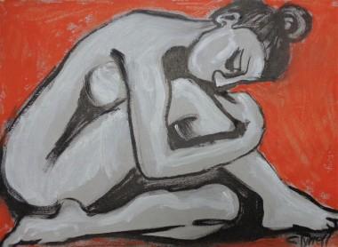 melancholic profile nude woman