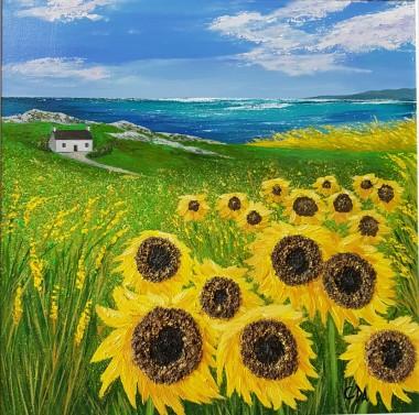 Windswept Coastal Sunflowers