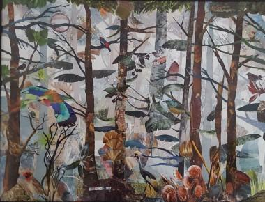 Birds animals trees wildlife forest flowers collage