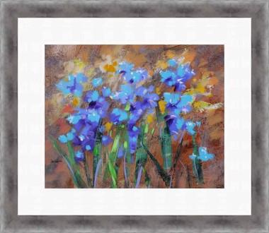 Floral blue impressionist