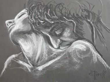 man kiss woman neck
