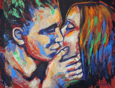 painting man and woman portrait kissing
