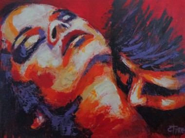 erotic portrait man kissing woman neck