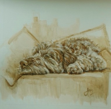 Dog sleeping on couch