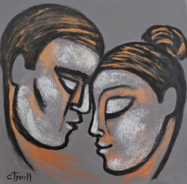 portrait profile man and woman