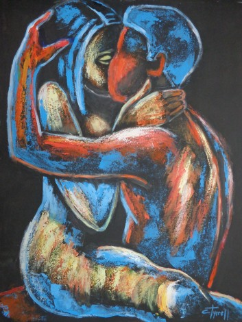 painting of man and woman kissing
