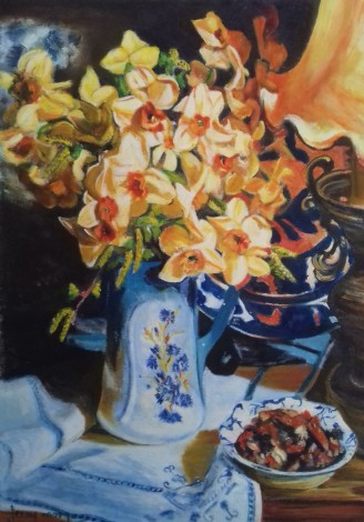 #daffodils#vase#springtime#flowers#lamplight#stilllight
