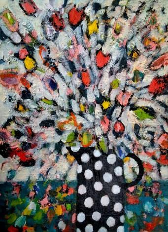 Flowers in a Polka Dot Vase III