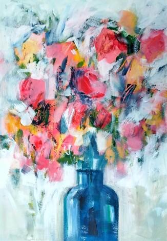 Spring Flowers in a Blue Vase