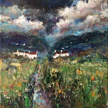 Irish landscape  Mountains  Birds Cottages