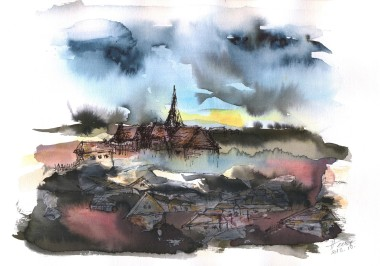 The Sinking Village watercolor and ink on paper