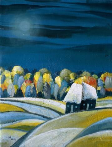 Fading Full Moon - oil on canvas