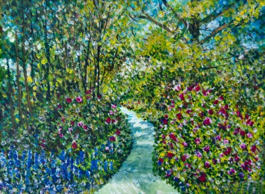 A Garden Scene with Foyers and trees.