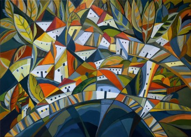 Autumn in the Lakeside Village - oil on canvas