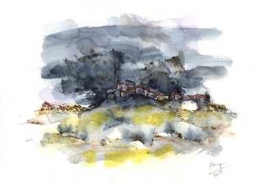 Stormy Night watercolor abstract painting
